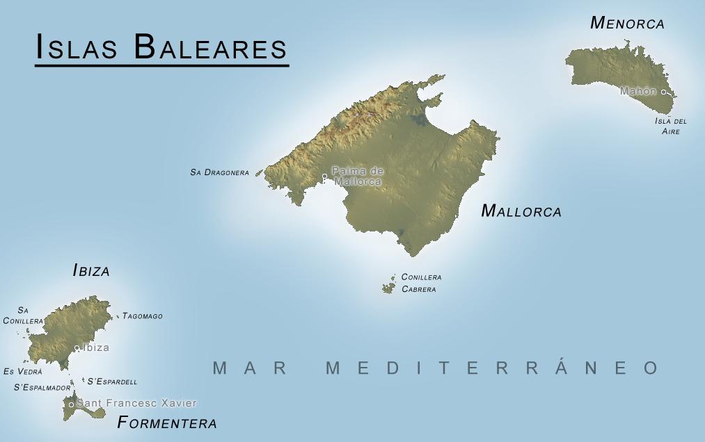 Балеарские острова: карта. Фото: Wikipedia (C.C.)
