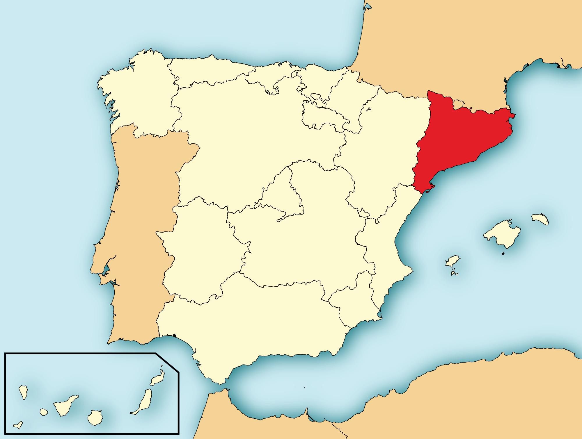 Каталония(выделена красным цветом) была присоединена к Королевству Арагон вXII веке и является частью Испании с самого основания страны.